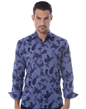 Blue Navy Paisley Dress Shirt