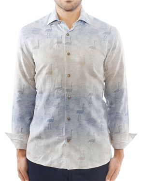 Tan Blue Gradient Jacquard Shirt