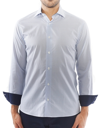 White Blue Block Repeat Print Shirt