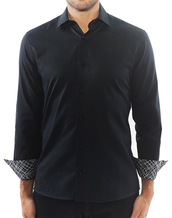 Black Floral Jacquard Dress Shirt