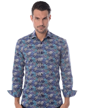 Navy Turquoise Floral Dress Shirt