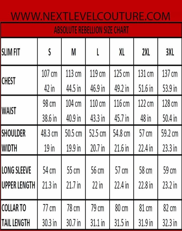 Absolute rebellion men dress shirt measurement for Slim fit shirt size chart