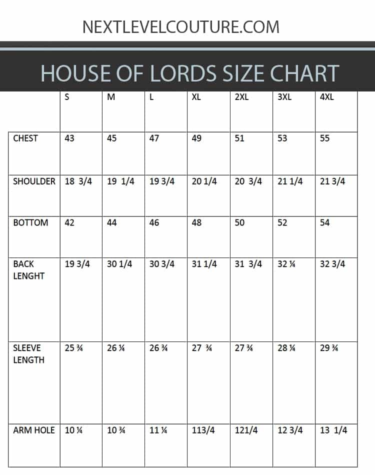 mens dress shirt size chart: House of lords clothing men dress shirt measurement