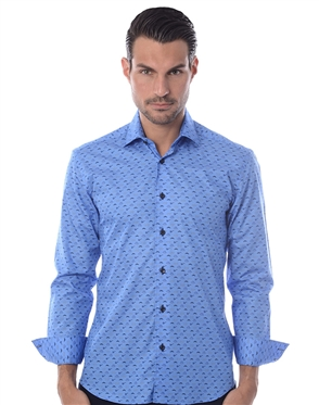 Oh Baby Blue Men's Designer Dress Shirt