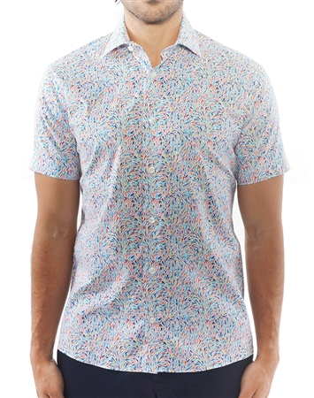 Multicolored Liberty Print Dress Shirt | Short Sleeve Button Down