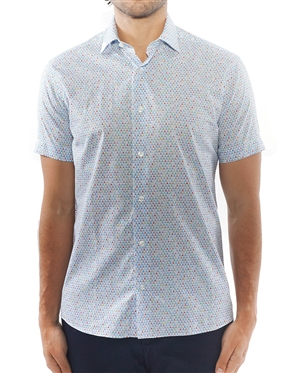 White Blue Geometric Print Shirt | Designer Short Sleeve Woven