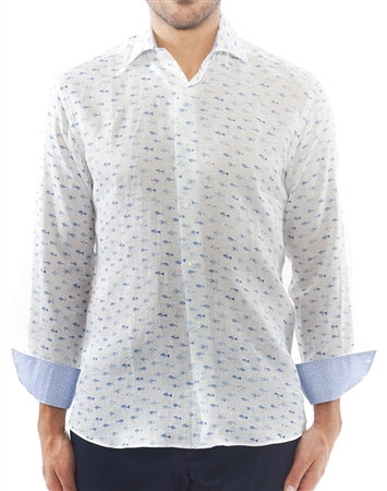 White Blue Fish Linen Dress Shirt