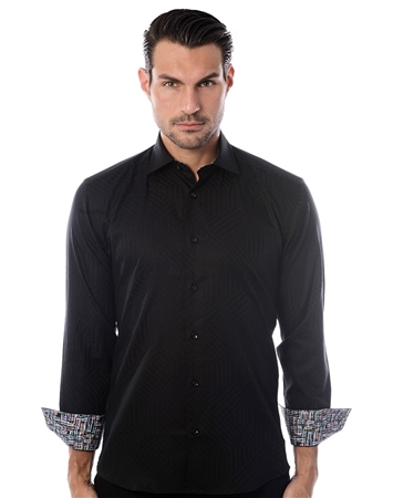 Black Line Jacquard Dress Shirt