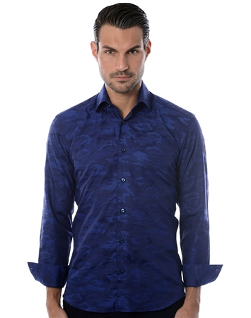 Navy Camo Jacquard Dress Shirt