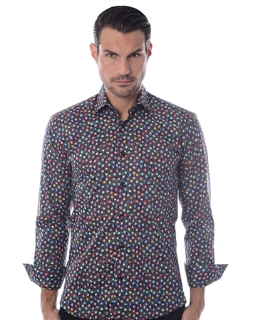 Black Multi Dot dress Shirt