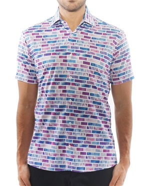 Purple Brick Print Dress Shirt