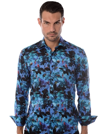 Navy and Blue Printed dress Shirt