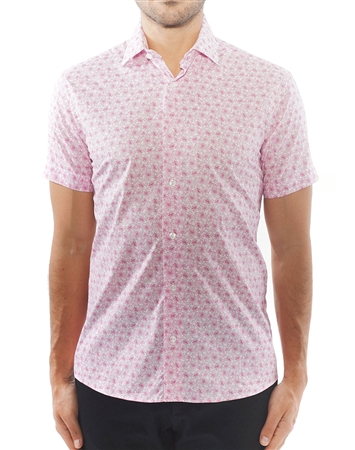 Pink Floral Short Sleeve Dress Shirt