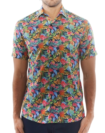 Sporty Navy Tropical Print Dress Shirt | Short Sleeve Woven