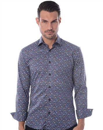 Navy Multicolor Dress Shirt