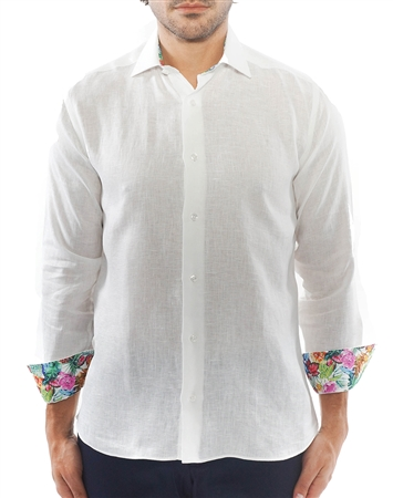 Elegant White Linen Dress Shirt