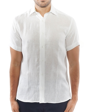 Elegant White Short Sleeve Linen Dress Shirt