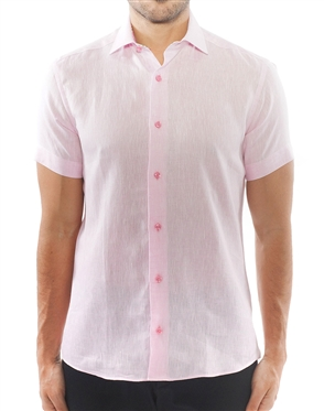 Short Sleeve Pink Linen Shirt