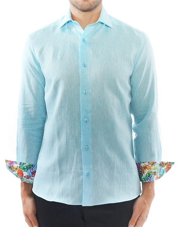 Designer Turquoise Linen Dress Shirt