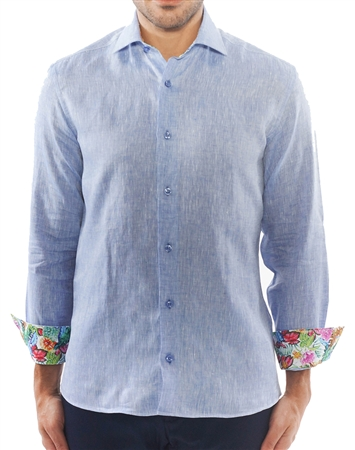 Designer Navy Linen Dress Shirt