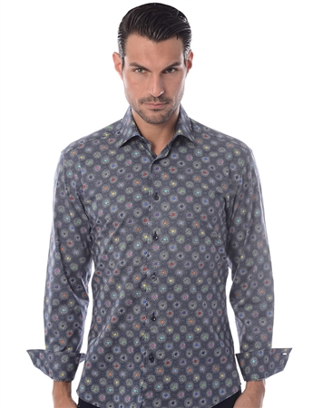 Navy Multicolor Dot Dress Shirt