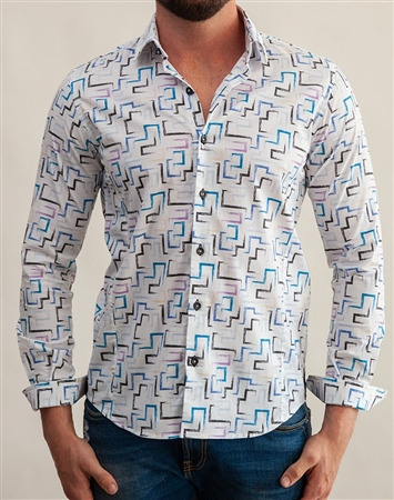 White Geometric Print Dress Shirt