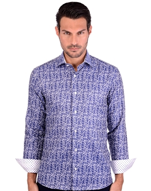 Navy And White Luxury Men's Shirt