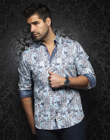 Chic Blue Tribal Print Shirt: Alfonso-light-blue