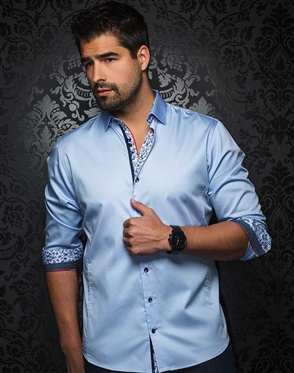 Sporty Light Blue Dress Shirt