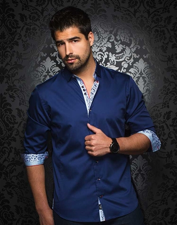 Sporty Navy Blue Dress Shirt