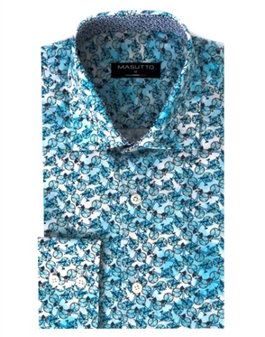 Luxury Sport Shirt - Turquoise Bicycle Print Shirt