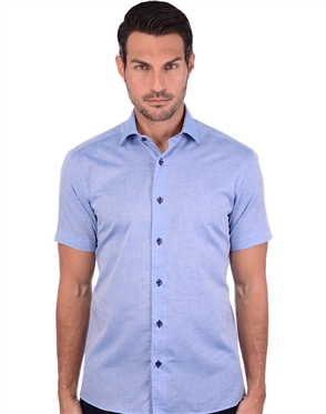 Elegant Blue Linen Dress Shirt