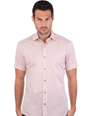 Fashionable Khaki Linen Dress Shirt