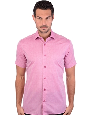Fiery Fuchsia Men's Linen Dress Shirt