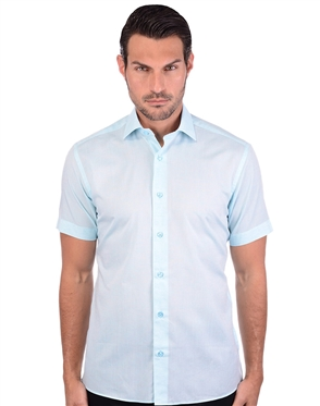 Electrifying Turquoise Men's Linen Dress Shirt
