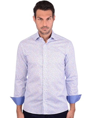 Blue Multi Men Long Sleeve Dress Shirt