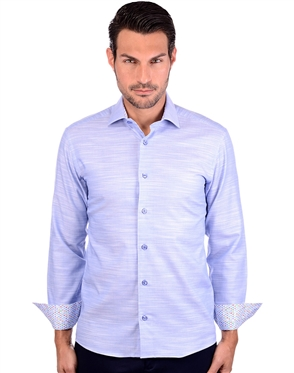 Stylish Blue Long Sleeve Cotton Dress Shirt