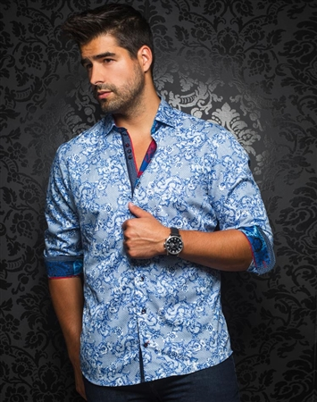 Designer Dress Shirt: Anton Navy Royal