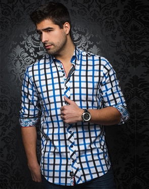 Sporty Dress Shirt - Black and Blue Check Button Down