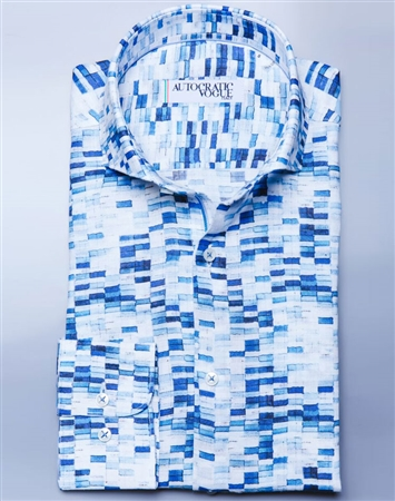 White Blue Designer Dress Shirt