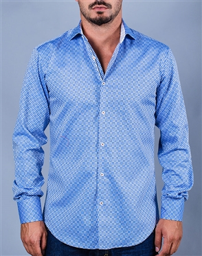 Blue Dress Shirt Geometric Pattern