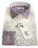 White Multicolor Dot Dress Shirt