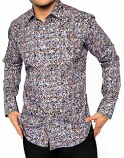 Black Geometric Floral - Designer Dress Shirt