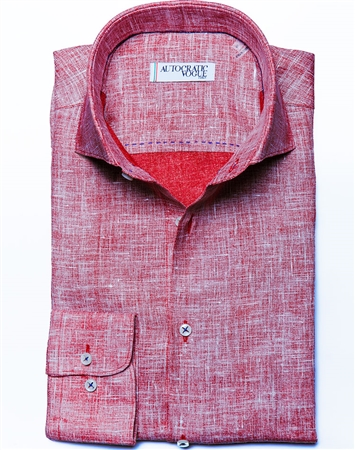 Red Linen Fashion Shirt