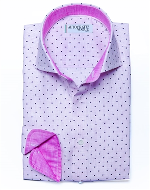 Pink Purple Dot Linen Shirt