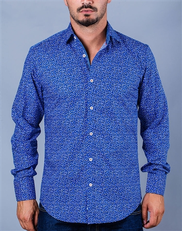 Casual Blue Shirt White Dots