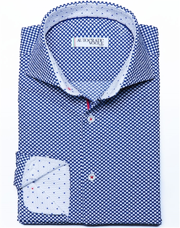 Blue White Dot Dress Shirt