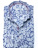 White and Blue Floral Dress Shirt