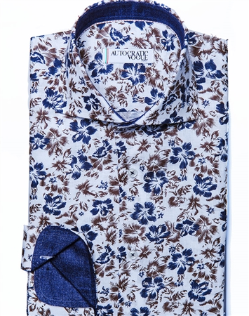 Navy Brown Floral Button down
