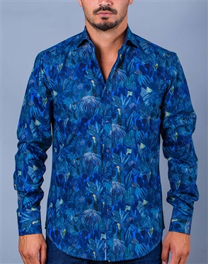 Blue Printed Designer Dress Shirt
